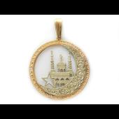 Кулон Полумесяц со звездой, мечеть фианит, комбинированное золото