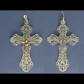 Крест православный ажурный из серебра с позолотой