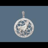 Кулон Овен в круге с фианитами, серебро