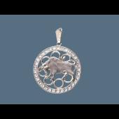 Кулон Телец в круге с фианитами, серебро