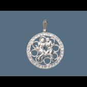Кулон Близнецы в круге с фианитами, серебро