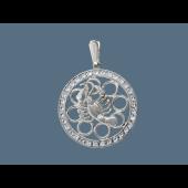 Кулон Рак в круге с фианитами, серебро