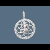 Кулон Дева в круге с фианитами, серебро