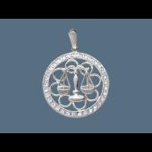 Кулон Весы в круге с фианитами, серебро