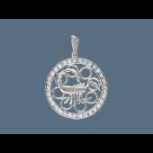 Кулон Скорпион в круге с фианитами, серебро