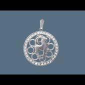 Кулон Козерог в круге с фианитами, серебро