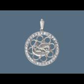 Кулон знак зодиака Рыбы в круге с фианитами, серебро