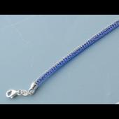 Браслет Жгут декоративный с синим каучуком, серебро