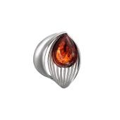 Кулон с янтарем в форме Капли, серебро