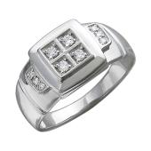 Кольцо мужское Квадрат с фианитами, серебро