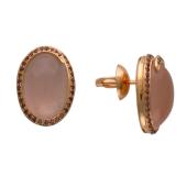Серьги-пусеты с крупным овальным розовым кварцем и родолитом вокруг, красное золото