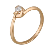 Кольцо с одним бриллиантом, красное золото
