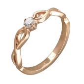Кольцо Бесконечность с одним бриллиантом, красное золото