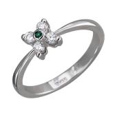 Кольцо с бриллиантами и изумрудом (сапфиром), белое золото