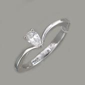 Кольцо Капелька с бриллиантом, белое золото
