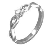 Кольцо Бесконечность с бриллиантом, белое золото