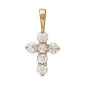 Крест без распятия с бриллиантами, красное золото