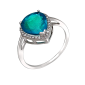 Кольцо с изумрудом и фианитами, серебро