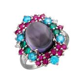 Кольцо Цветок с аметистом, рубинами, фианитами и нанокристаллом, серебро
