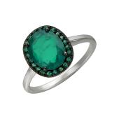 Кольцо с изумрудом выращенным и зелеными нанокристаллами, серебро
