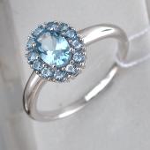Кольцо Принцесса с топазами, серебро