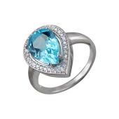 Кольцо Капля с топазом и фианитами, серебро