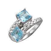 Кольцо с квадратными топазами и фианитами, серебро