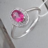 Кольцо с розовым топазом и фианитами, серебро