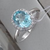 Кольцо с топазом и фианитами в стиле леди Дианы, серебро
