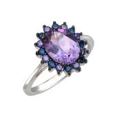 Кольцо с аметистом и сине-сиреневыми нанокристаллами, серебро