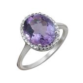 Кольцо с аметистом и фианитами, серебро
