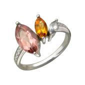 Кольцо с оливином, раухтопазом, цитрином и фианитами, серебро