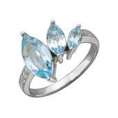 Кольцо с тремя топазами и фианитами, серебро