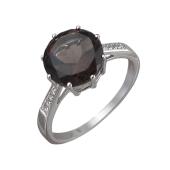 Кольцо с раухтопазом и фианитами из серебра 925 пробы