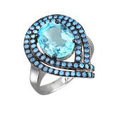 Кольцо Капля с топазом и нанокристаллами, серебро