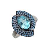 Кольцо с топазом и наноопалами, серебро
