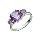 Кольцо с тремя аметистами, серебро