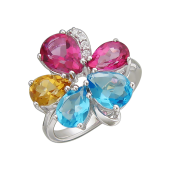 Кольцо Цветик с родолитом, аметистом, топазом Лондон, турмалином, танзанитом и цитрином, серебро