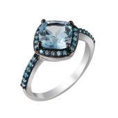 Кольцо с топазом и голубыми фианитами из серебра