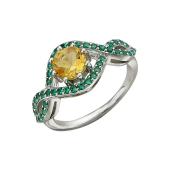 Кольцо с цитрином и зелеными нанокристаллами, серебро