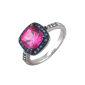 Кольцо с нанокристаллом, топазом и фианитами из серебра