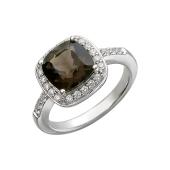 Кольцо с раухтопазом и фианитами, серебро