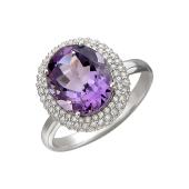 Кольцо Принцесса с аметистом и фианитами из серебра