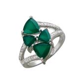 Кольцо с зелеными агатами и фианитами, серебро