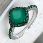 Кольцо Принцесса с зеленым агатом и зелеными фианитами из серебра