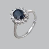 Кольцо с сапфиром и фианитами в стиле леди Дианы, серебро
