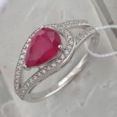 Кольцо с рубином и фианитами, серебро