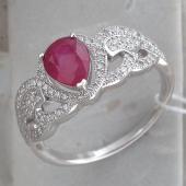 Кольцо Капля с рубином и фианитами, серебро