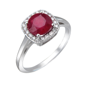 Кольцо Принцесса с рубином и фианитами из серебра