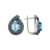 Серьги Капля с овальным топазом и  голубыми фианитами, серебро